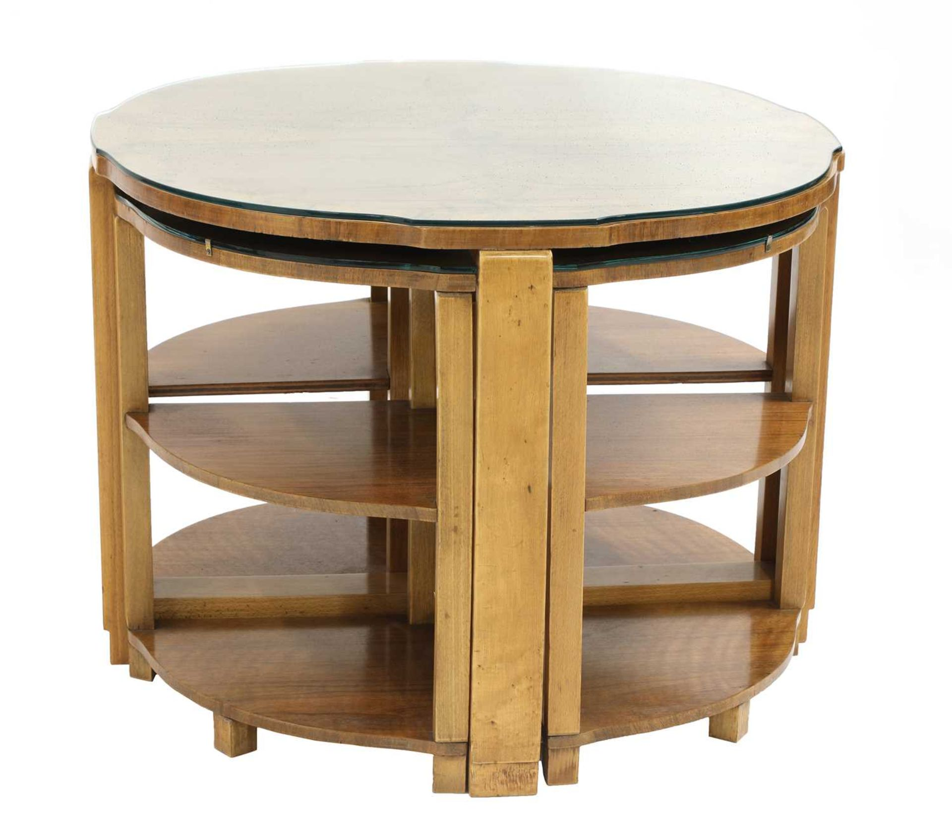 An Art Deco walnut nest of tables,