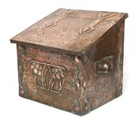 An Arts and Crafts embossed coal box,