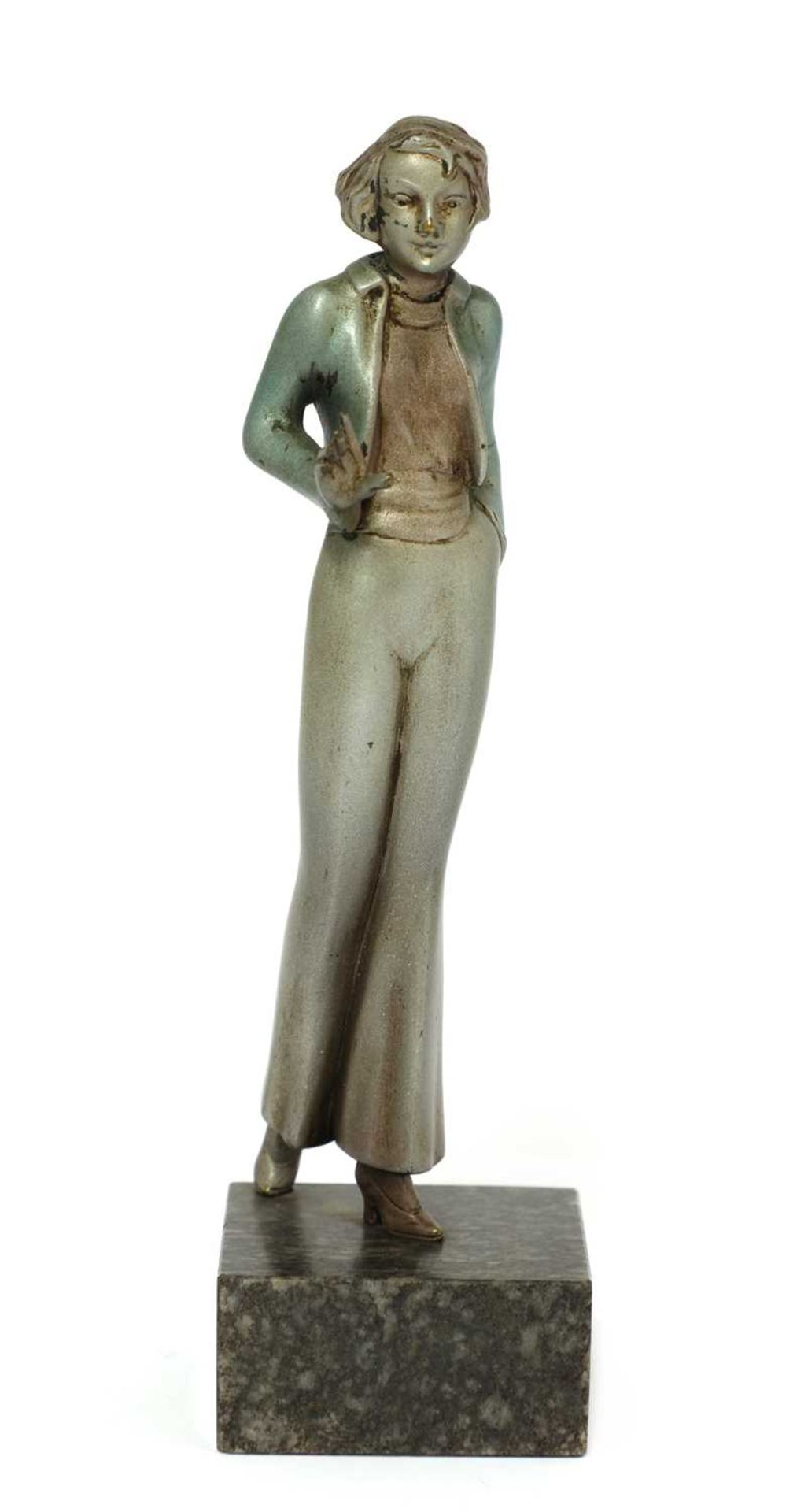 An Art Deco cold-painted bronze figure of a lady,