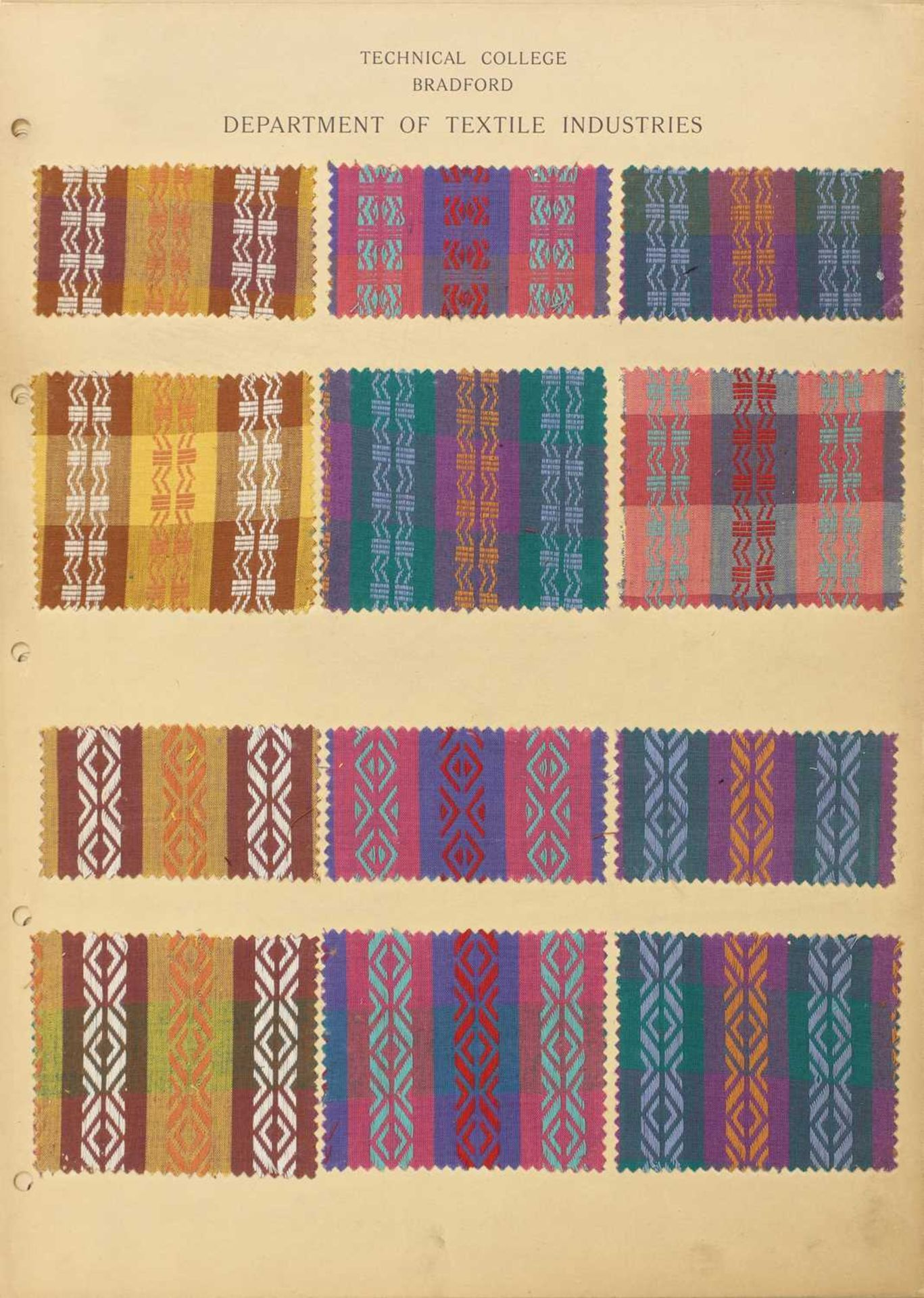 A collection of twelve Art Deco fabric sample cards,