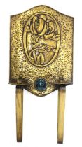 A Scottish Arts and Crafts brass twin-light wall sconce,