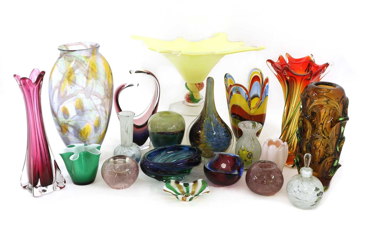A collection of thirty coloured glass vases and bowls,