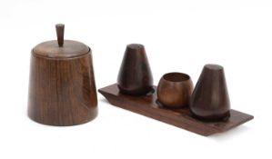 A jacaranda wood condiment set,