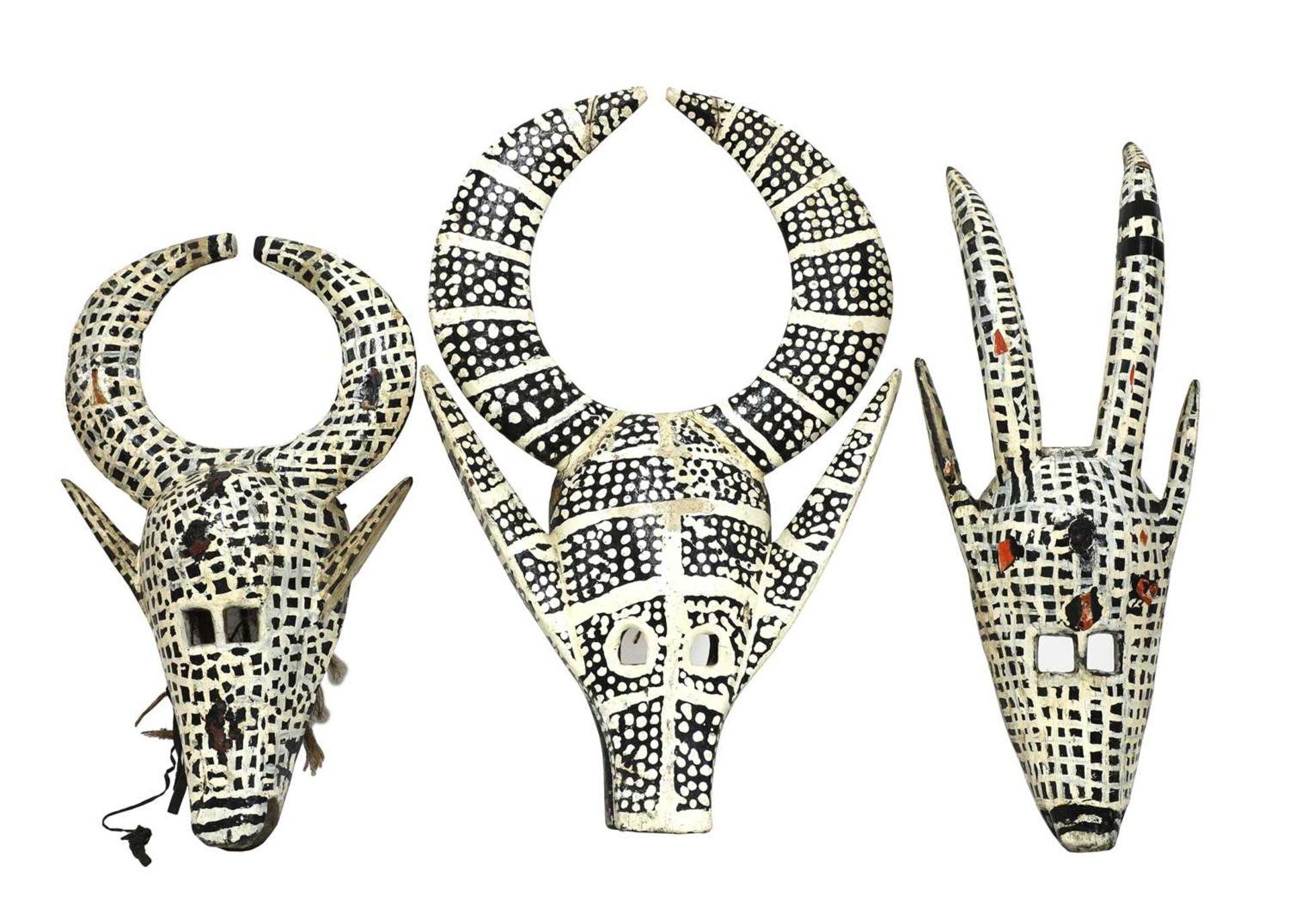 Three African tribal masks,