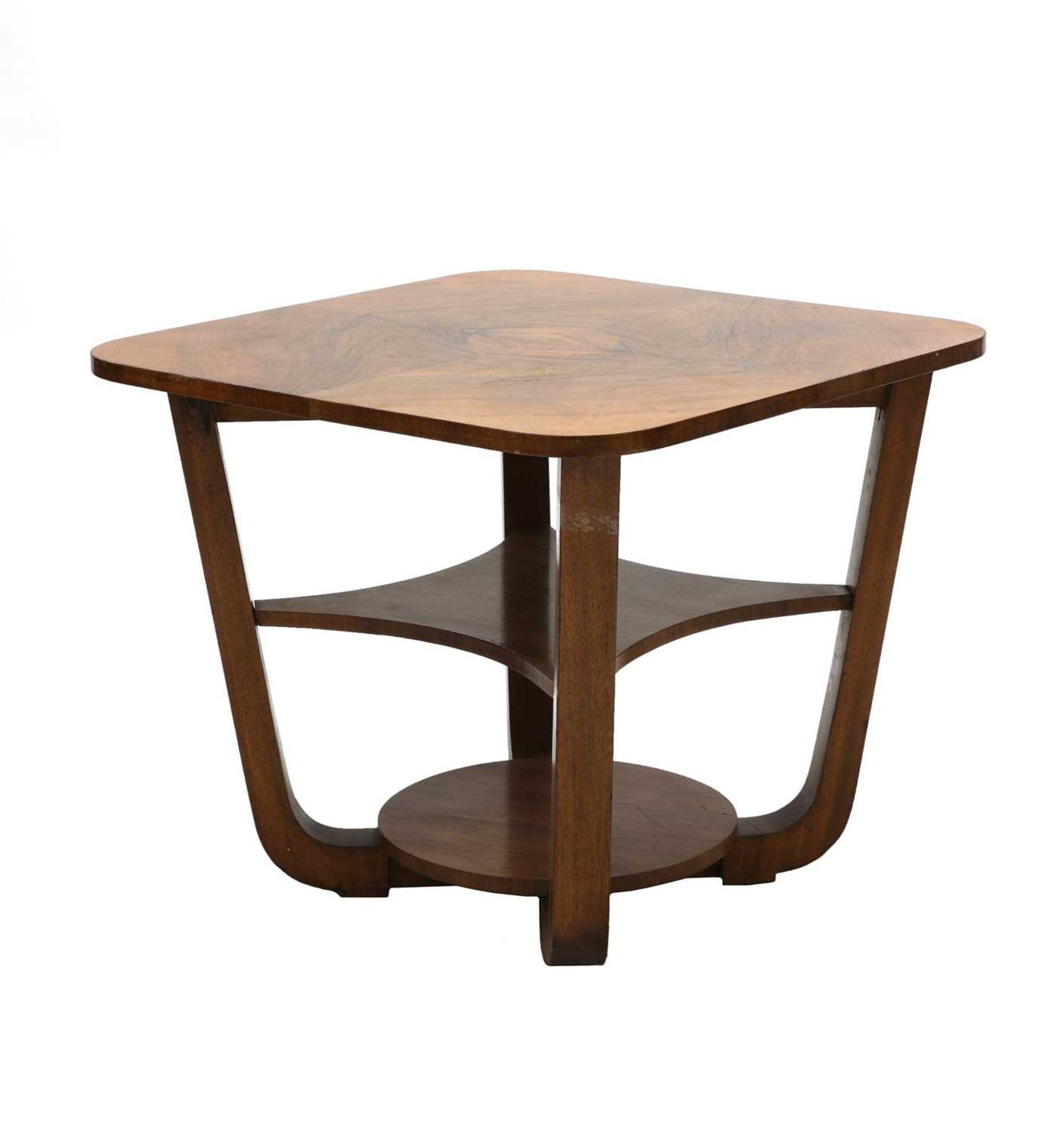 An Art Deco walnut table,