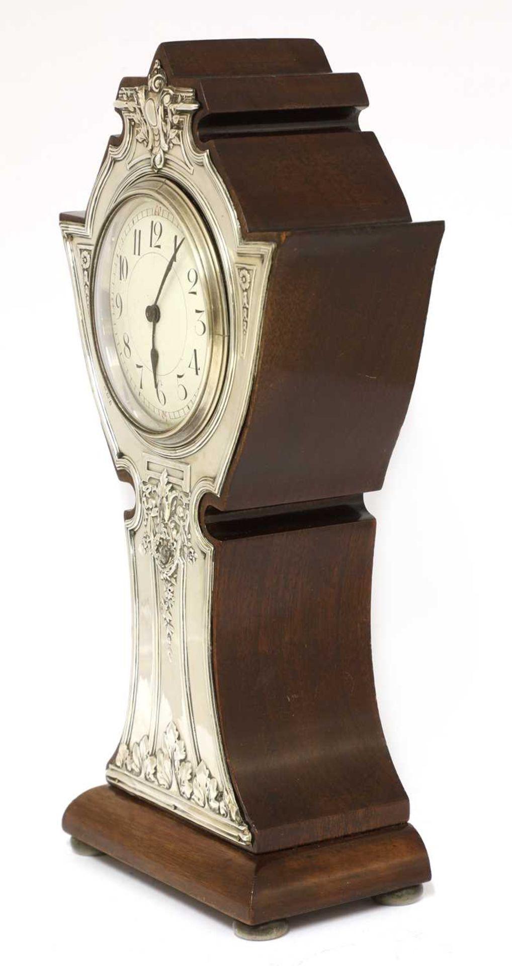 An Art Nouveau silver-mounted mantel clock, - Image 4 of 4