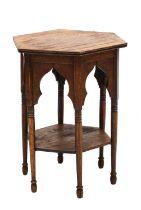 An Arts and Crafts hexagonal oak lamp table,