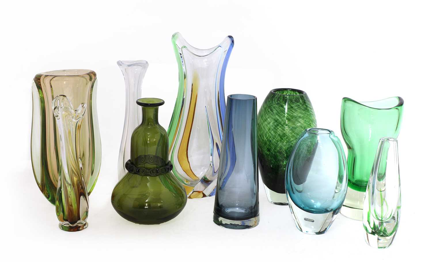 A collection of ten Scandinavian and Murano glass vases, - Image 2 of 4