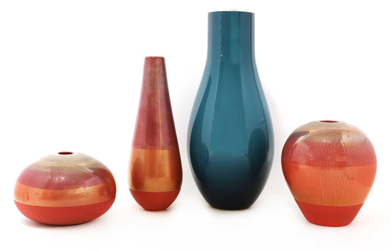 Three Venini red glass vases, - Image 2 of 6