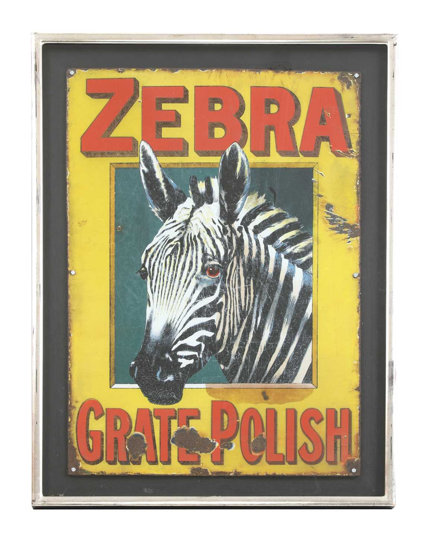 A 'Zebra Grate Polish' enamel sign,