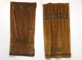 Two near pairs of Arts and Crafts velvet curtains,