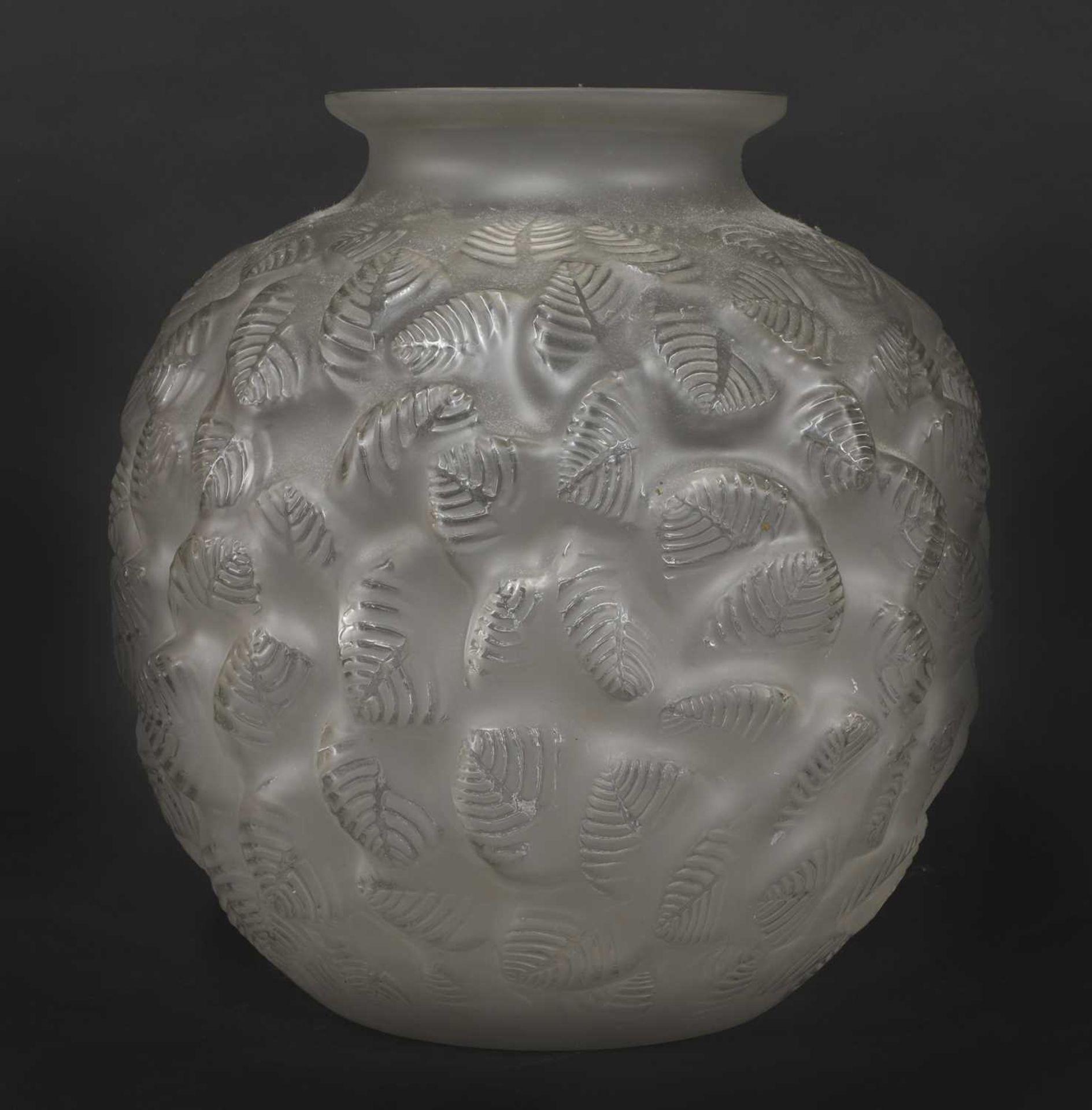 An Art Deco leaf moulded glass vase, - Image 3 of 3