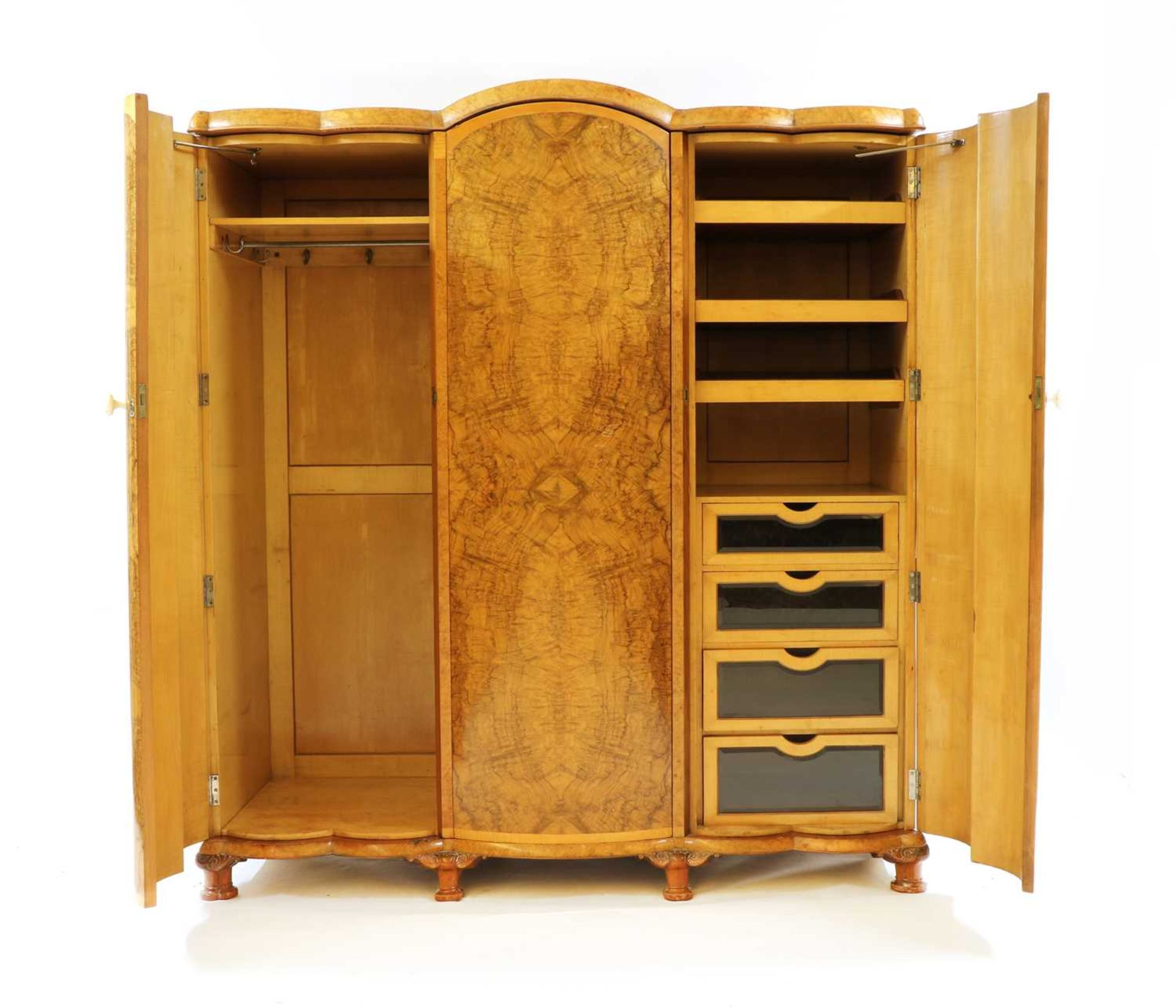 An Art Deco burr walnut and maple bedroom suite, - Image 9 of 45
