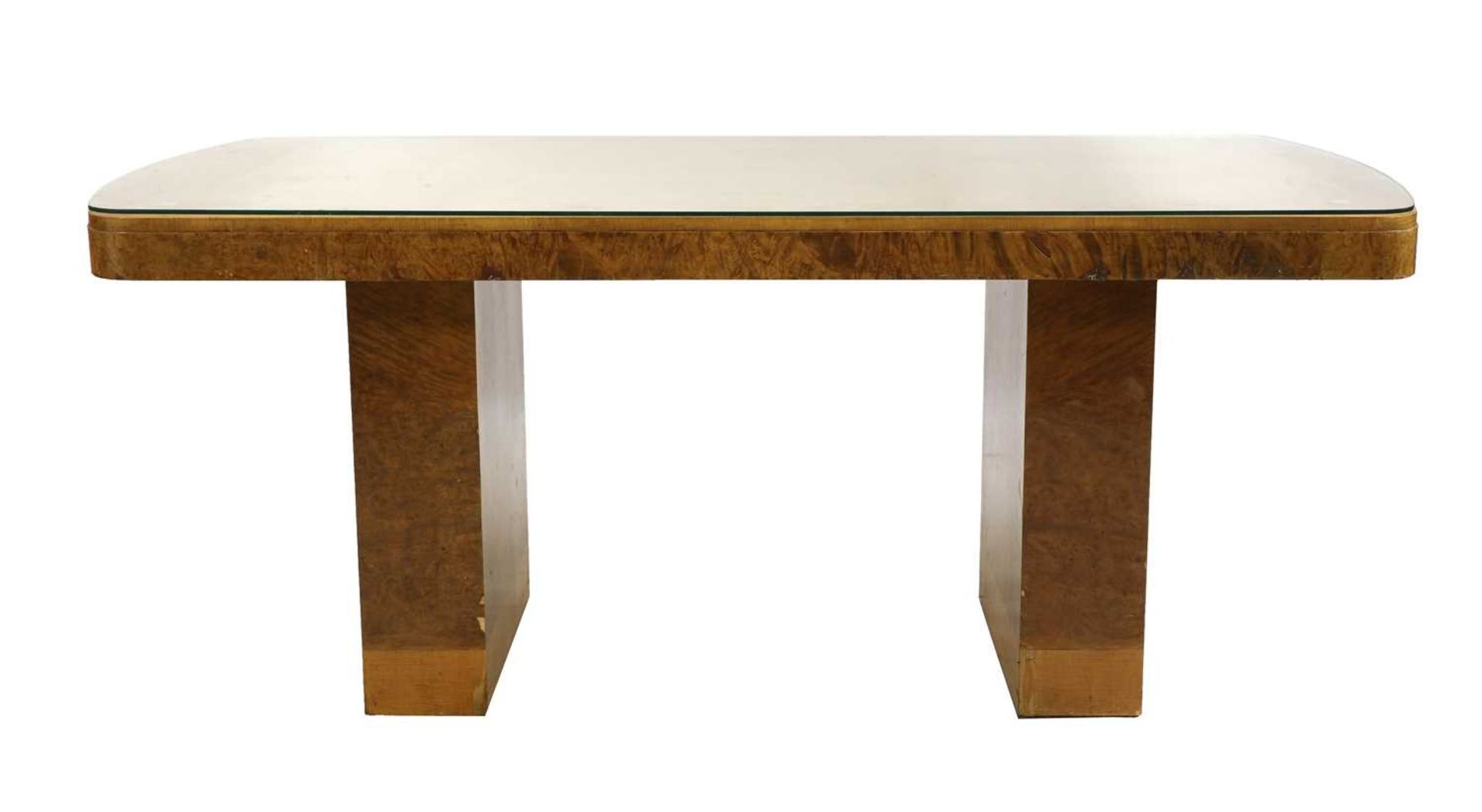 An Art Deco burr maple dining table, - Image 2 of 5