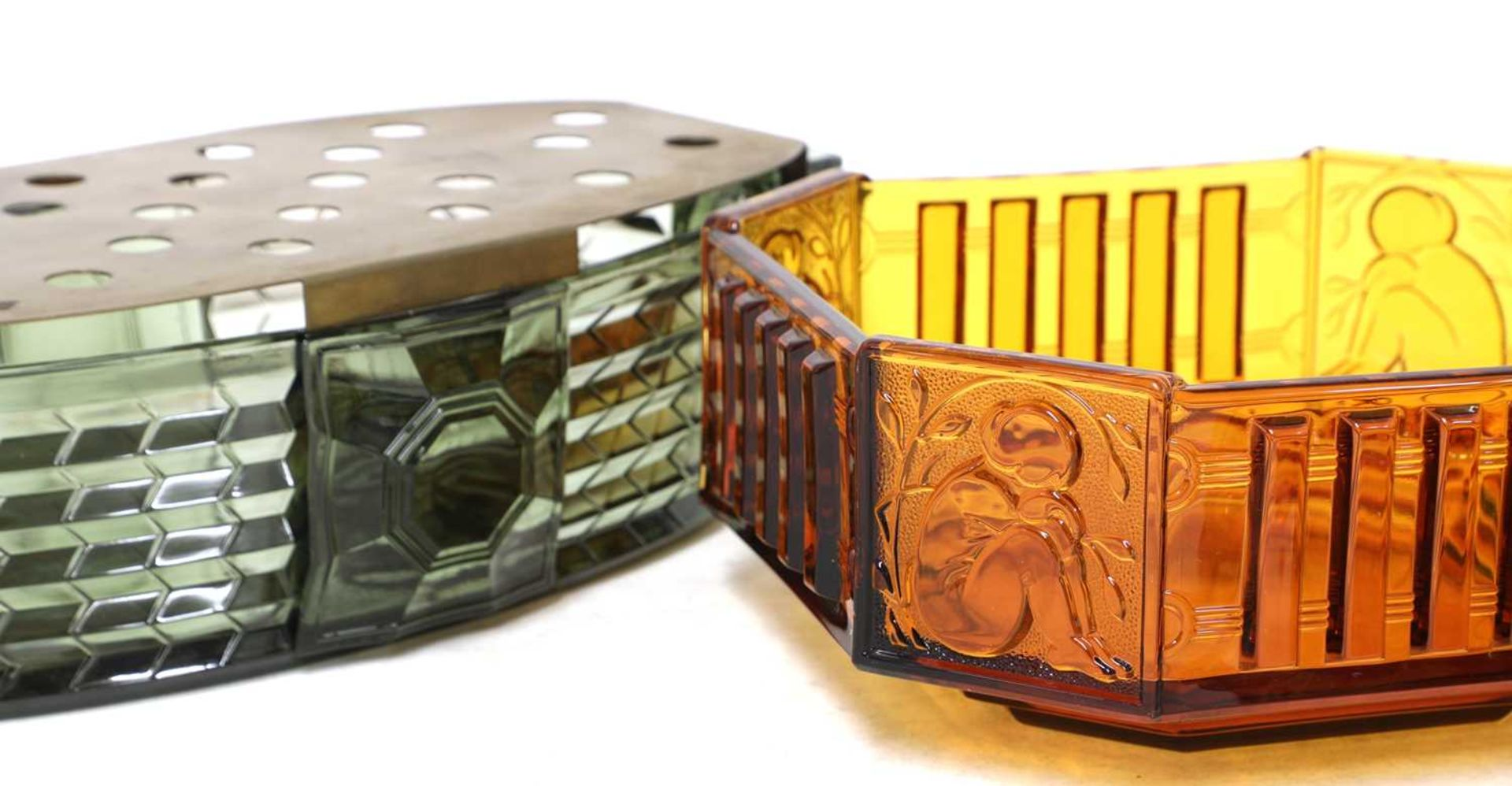 Two Val St Lambert 'Luxal' amber and green glass plate warmers or centrepieces, - Image 5 of 5