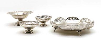 A silver pierced dish Sheffield