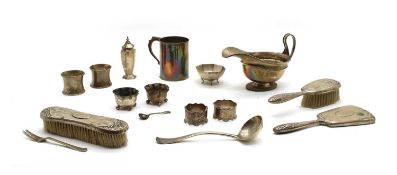 A collection of silver items,