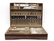 A mahogany canteen of silver plated cutlery,