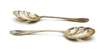 A pair of silver serving spoons,