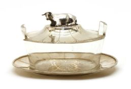 A Victorian silver and glass butter dish cover and stand