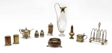 A George III silver and cut glass oil or vinegar bottle