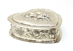 A late 19th century continental heart shaped 800 standard silver box