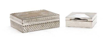 Two silver cigarette boxes,
