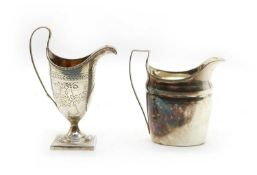 A George III silver cream jug and another (2)