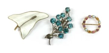 A Norwegian silver and white enamel ivy leaf brooch, by O. F. Hjortdahl,