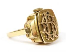 A gold mechanical watch ring,