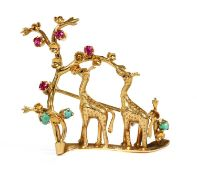 An Italian gold ruby and turquoise set giraffe brooch, c.1950,