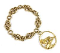 A 9ct gold fancy link bracelet,