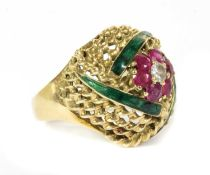 An Austrian gold diamond, ruby and enamel bombé ring,