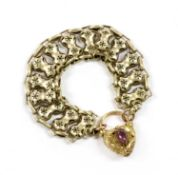 A Victorian gold heart shaped padlock clasp,