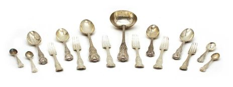 An early Victorian silver canteen of Kings pattern flatware,