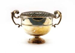 A late Victorian silver twin handled rose bowl,