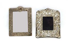 An Edwardian silver dressing mirror,