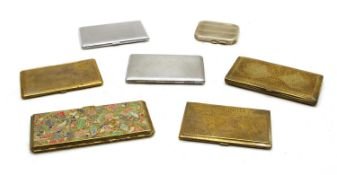 A collection of mixed metalware cigarette cases,