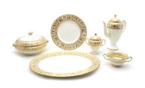 A Wedgwood Gold Florentine dinner/tea service,
