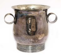 A silver-plated twin-handled urn,