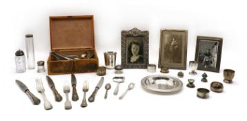 A quantity of silver and silver plated items,