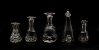 Four 19th century Scottish glass whisky measures and a bird feeder with frilled top,