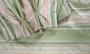 A pair of lined and interlined silk curtains