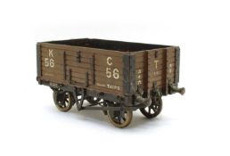 A scratch built model of an open wagon,