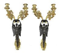 A pair of French bronze and ormolu wall sconces,