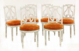 A set of six French Louis XVI-style painted chairs