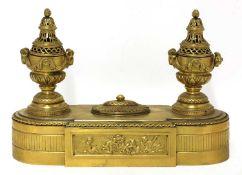 A Swedish Empire gilt-bronze standish,