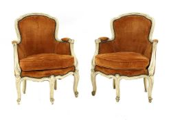 A pair of French Louis XV-style fauteuils,