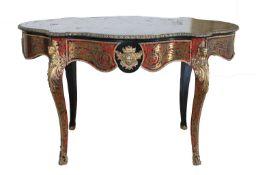 A French Napoleon III tortoiseshell, bronze and ormolu centre table,