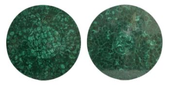A near pair of malachite tabletops,